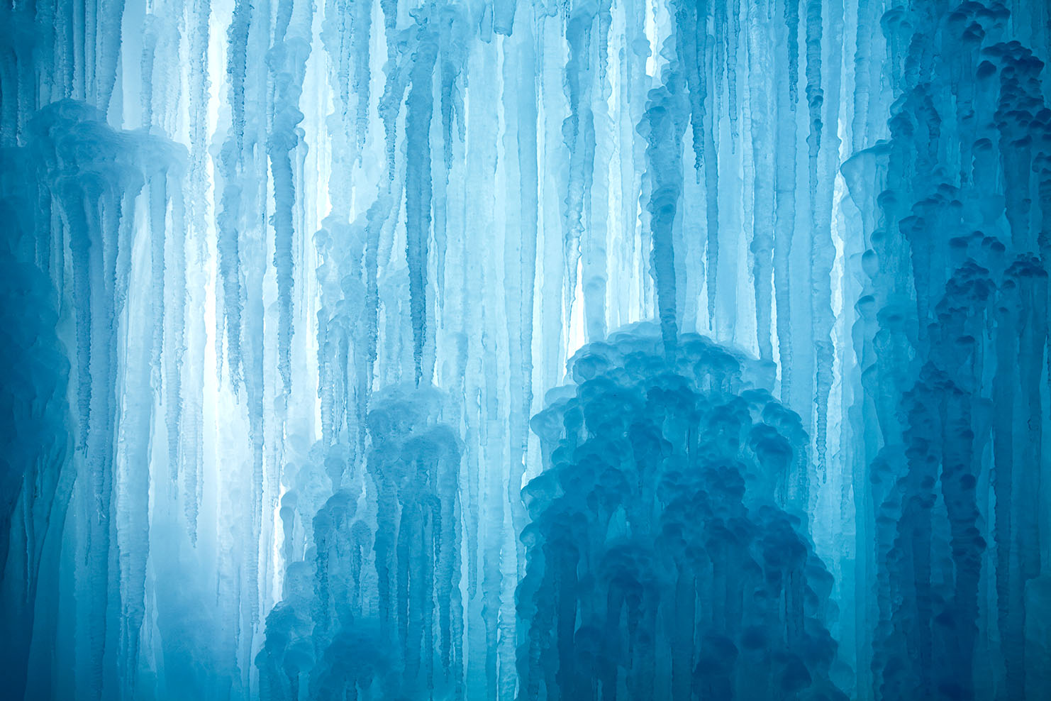 A frozen waterfall with ice