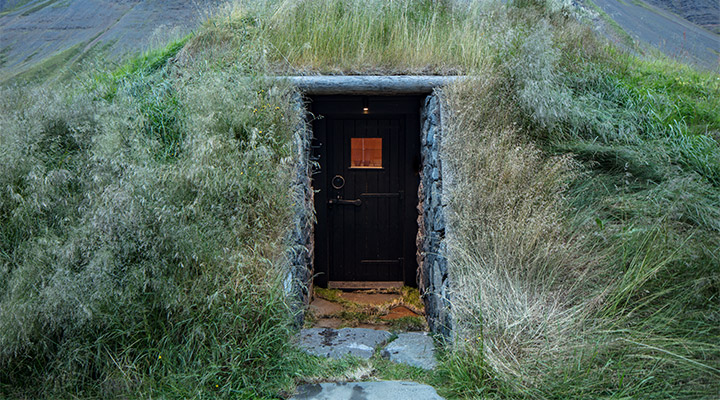 Built into the grassy hills
