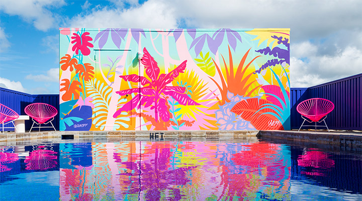 mural at pool