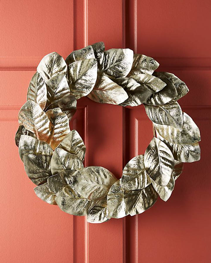 Metallic foliage wreath