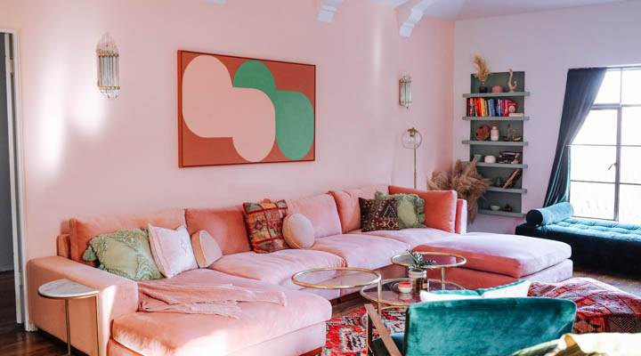 sunset hues in living room